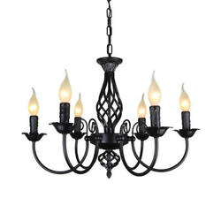 Vintage Style Wrought Iron Chandelier Hanging Candle Light Pendant Light $85.37