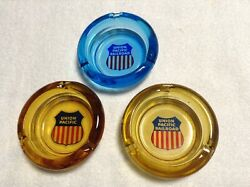 3 VINTAGE GLASS overland route UNION PACIFIC RAILROAD ASHTRAYS blue amp; amber $24.95