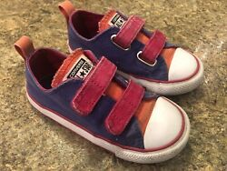 Converse All Star Toddler Girl#x27;s Size 9 Purple Pink Shoes Double Strap $22.50