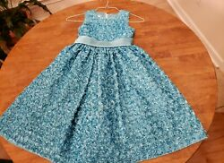 American Princess Dress Girls 8 Teal Sleeveless Floral Party Easter $19.99