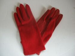 Gloves Women#x27;s Red Small Wool Upper Leather Palms Vintage $9.75