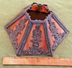 Antique Slag Glass Panel Lamp Shade Art Nouveau Victorian Decor Collectible $149.90