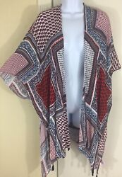 Pinky Plus 3X 2X 1X Red White Blue Americana Patriotic Open Front Top Wrap Shawl $14.99
