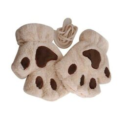1 Pair of Thicken Paw Pattern Warm Fingerless for Cloth Accessory $5.85