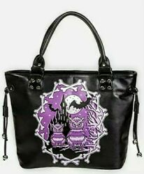 Owls Gothic Black Purse Handbag Moon