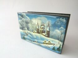 Russian Lacquer Box with Mother Pearl Winter Church Scene Fedoskino signed YH $45.00