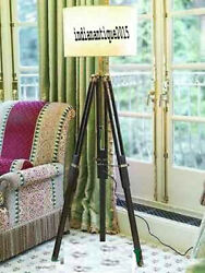 Nautical Floor Shade Lamp Brown Wooden Tripod Stand Home Decor Without Shade $90.00