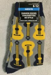 Mens Novelty Socks 6 12 Music Guitar Instrument Dad Fathers Day Gift NEW #B17 $4.95