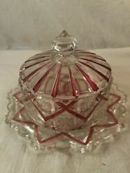Antique Red Flash Glass With Beading Dome Cheese Butter Dish $19.99