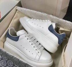 Super classic little white shoes blue man Alexander McQueen free shipping $290.04