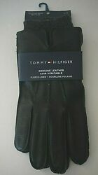 Tommy Hilfiger Black Leather Touchscreen Gloves Mens Large Fleece Lined NWT T2 $22.99