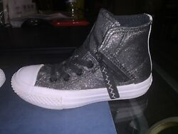 Converse All Star Girls Size 11 High Tops Shoes Black Glitter Free Shipping $25.00
