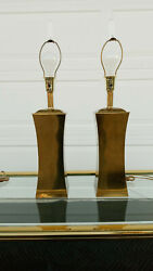 Vintage Mid Century Pair Of Brass Table Lamps With Lucite Finials $275.00