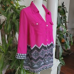 Notations Button Front Blouse Collared 3 4 Tab Sleeve Bright Colorful Plus 1X $13.94