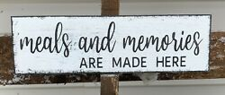 farmhouse wood sign MEALS amp; MEMORIES wood rustic kitchen sign small 12 inch $12.87