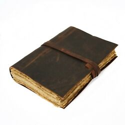 Vintage Leatherbound Journal Handmade Antique Deckle Edge Paper Leather Book $33.99