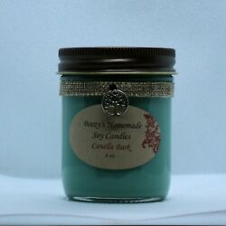 8 oz. Canella Bark Hand Poured Natural Soy Cotton Wick Green Candle $14.00