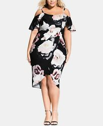 City Chic Trendy Plus Size Austin Floral Off The Shoulder Dress L 20W $29.99