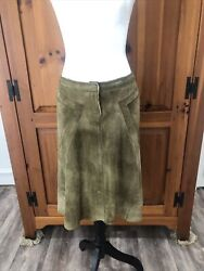Roberto Cavalli Khaki Green Distressed Suede Skirt Logo Fly Front Flare Skirt S $125.00