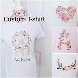 Custom Made to Order Women Fitted T shirt Floral Heart Dream Catcher Boho $18.55