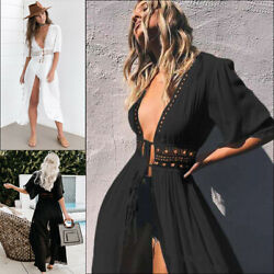 Women Sexy Casual Summer Boho Beach Long Maxi Slit Dress Cocktail Party Sundress $18.99