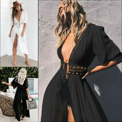 Women Sexy Casual Summer Boho Beach Long Maxi Slit Dress Cocktail Party Sundress $17.99
