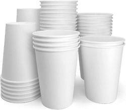 12 Oz 50 Count Pla White Papernain Compostable Hot Paper Disposable Cups $17.99