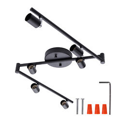 AIBOO 6 Light Adjustable Track Lighting Black with Foldable Arms for Living Room $48.99