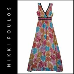 Nikki Poulos Women Cocktail Chiffon Faux Wrap Long Dress Size Small $24.75