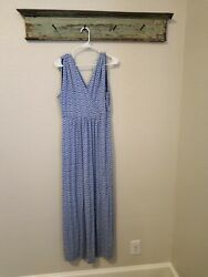 Vineyard Vines Dress Blue White Stripe Maxi Women Size Medium Sleeveless $24.99