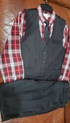 Boys Sears Size 16 Black Special Editions Suit Vest Shirt Tie And Pants $23.88