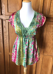 Lush Small Green V Neck Embroidered Short Sleeve Top Tunic Watercolor Striped $15.04