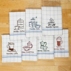 Coffee Kitchen Hand Dish Towels Embroidered 7 day Week Birthday Gift Set Her Mom $19.99