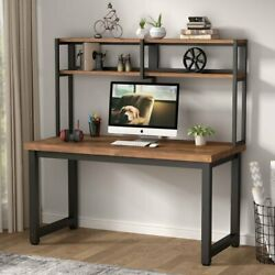 Industrial 55quot; Home Office Desk Computer Table with Storage Shelves Wooden Table $186.95