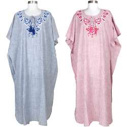 Women Embroidered Dress Cotton Kaftan Maxi Plus Size Caftan Abaya Long Gown New $34.99