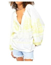 Free People Women Blouse Persuasion Cotton Embroidered Tunic Top Ivory MSRP$128 $31.49