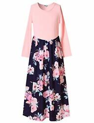 Mirawise Long Sleeve Pleated Casual Swing Maxi Dress for Girls Pockets Flower... $27.49