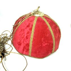 Red Velvet Hanging Lamp Large White Globe Vintage Mid Century Huge 18quot; AS IS $103.50