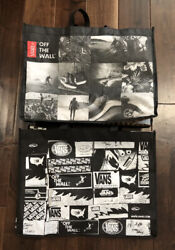 Vans Off the Wall Set of 2 Large Shopping Reusable Tote Bags Grocery $13.94