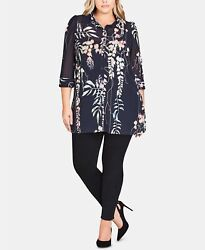 City Chic Women's Trendy Floral Tunic Plus Size – Navy 22W $24.99