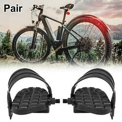 Pair Bicycle Pedals 1 2#x27;#x27; Spindle Platform Non Slip with Belts Strap $25.99