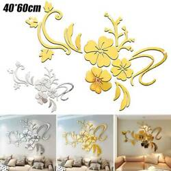 Home 3D Removable Wall Sticker Mirror Flower Decal DIY Room Art Mural Decoration $8.89