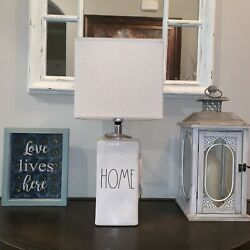 Rae Dunn quot; Home quot; Lamp. Ivory With LL Black Text HTF Magenta $65.00