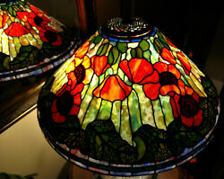 Tiffany Reproduction Lamp Shade 20quot; Poppy Orange Red Stained Glass Odyssey $3495.00