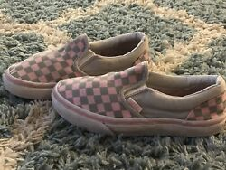 Vans Off The Wall*Girls Pinkamp;Gray Slip On Sneakers*Size 2.5*GUC $4.99