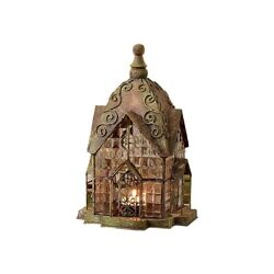 Glass and Metal Architectural Candle Lantern Green Patina Windale House $37.53