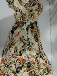 RIPPED VintageClothing Women#x27;s Floral Maxi Dress Pale Yellow Size Small ButtonUp $13.59