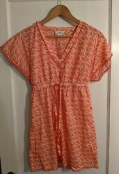 Vineyard Vines Pink amp; white Beach Dress Cover up Size XS fish print tie waist $16.00