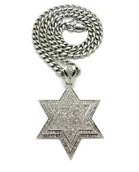 HIP HOP LARGE STAR OF DAVID PENDANT 9mm 24quot; 30quot; STAINLESS STEEL CHAIN NECKLACE $28.49