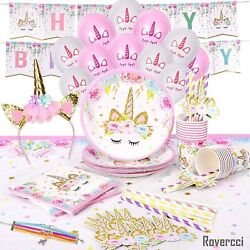Unicorn Party Supplies Set amp; Tableware Kit Birthday Decorations Bunting NEW $25.99